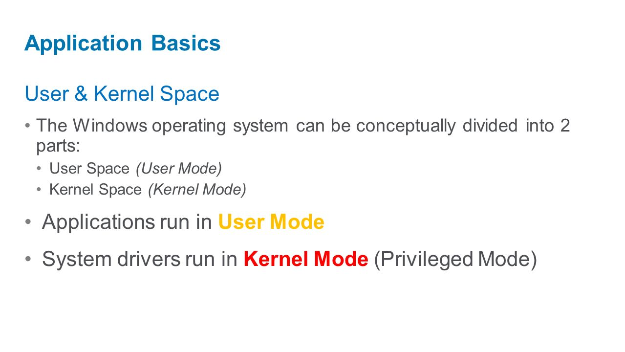 User & Kernel Space The Windows operating system can be conceptually divided into 2 parts: User Space (User Mode) Kernel Space (Kernel Mode) Applicati