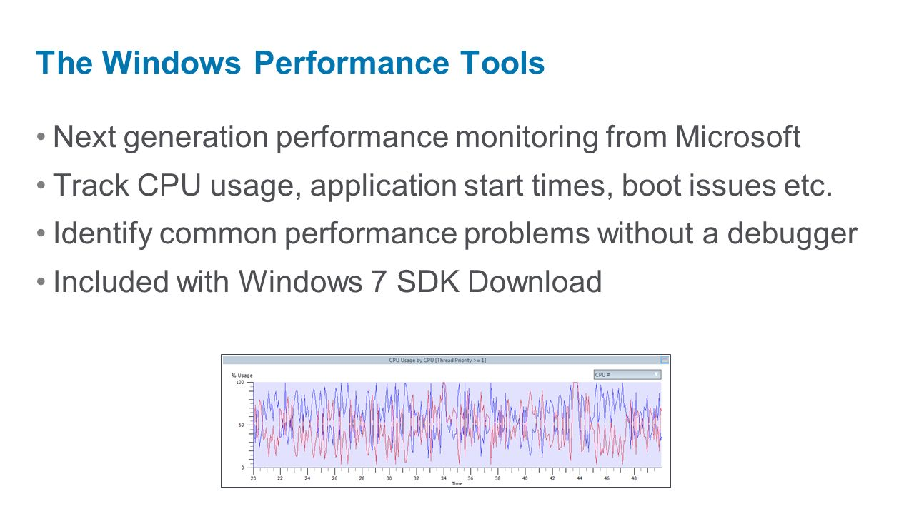Next generation performance monitoring from Microsoft Track CPU usage, application start times, boot issues etc. Identify common performance problems