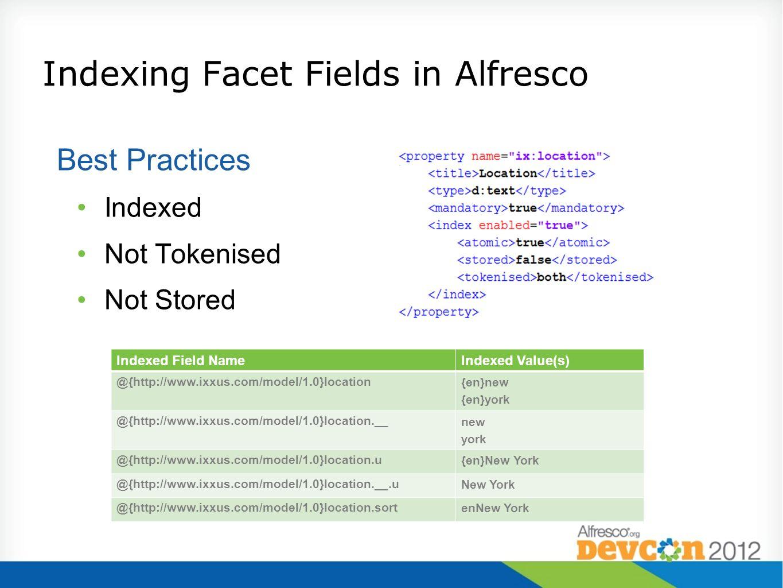 Indexing Facet Fields in Alfresco Best Practices Indexed Not Tokenised Not Stored Indexed Field NameIndexed Value(s) @{http://www.ixxus.com/model/1.0}