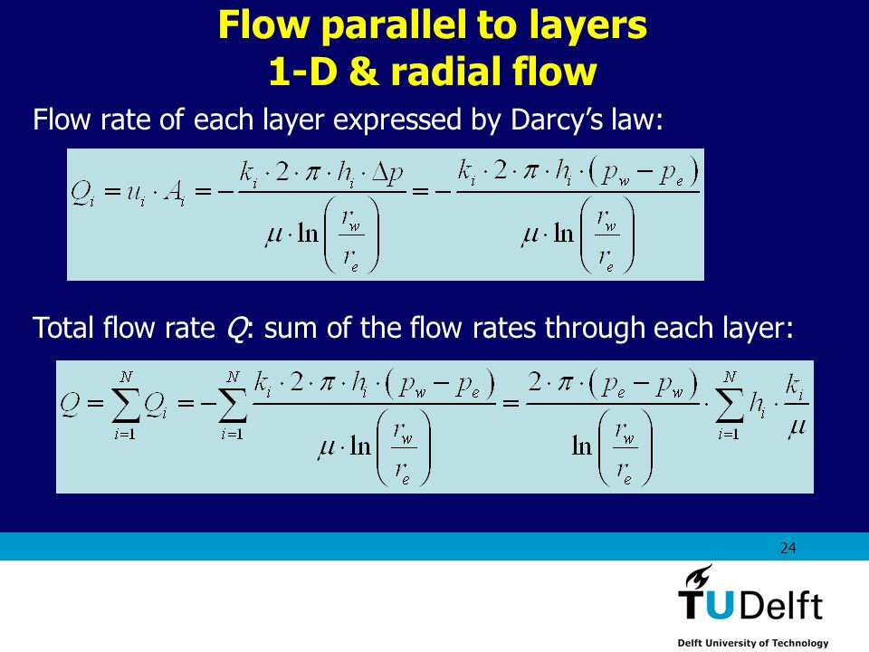 AES1310: Rock Fluid Interactions - Part 1 24 Flow rate of each layer expressed by Darcys law: Total flow rate Q: sum of the flow rates through each la