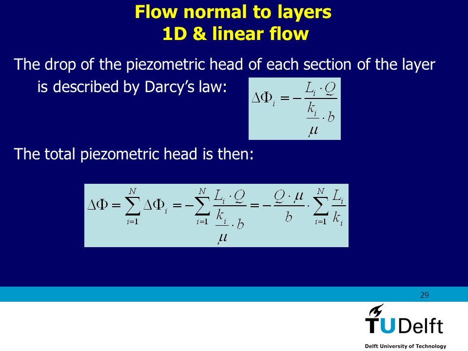 AES1310: Rock Fluid Interactions - Part 1 29 Flow normal to layers 1D & linear flow The drop of the piezometric head of each section of the layer is d