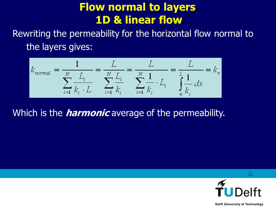 AES1310: Rock Fluid Interactions - Part 1 31 Flow normal to layers 1D & linear flow Rewriting the permeability for the horizontal flow normal to the l