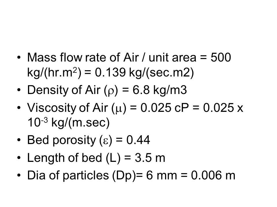 Mass flow rate of Air / unit area = 500 kg/(hr.m 2 ) = 0.139 kg/(sec.m2) Density of Air ( ) = 6.8 kg/m3 Viscosity of Air ( ) = 0.025 cP = 0.025 x 10 -