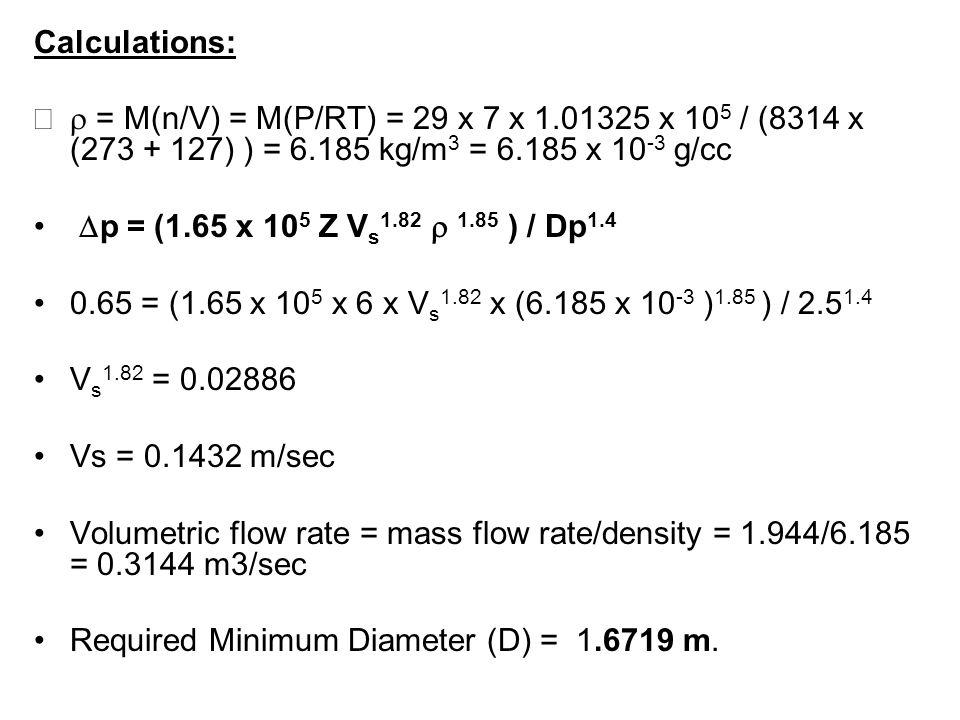 Calculations: = M(n/V) = M(P/RT) = 29 x 7 x 1.01325 x 10 5 / (8314 x (273 + 127) ) = 6.185 kg/m 3 = 6.185 x 10 -3 g/cc p = (1.65 x 10 5 Z V s 1.82 1.8