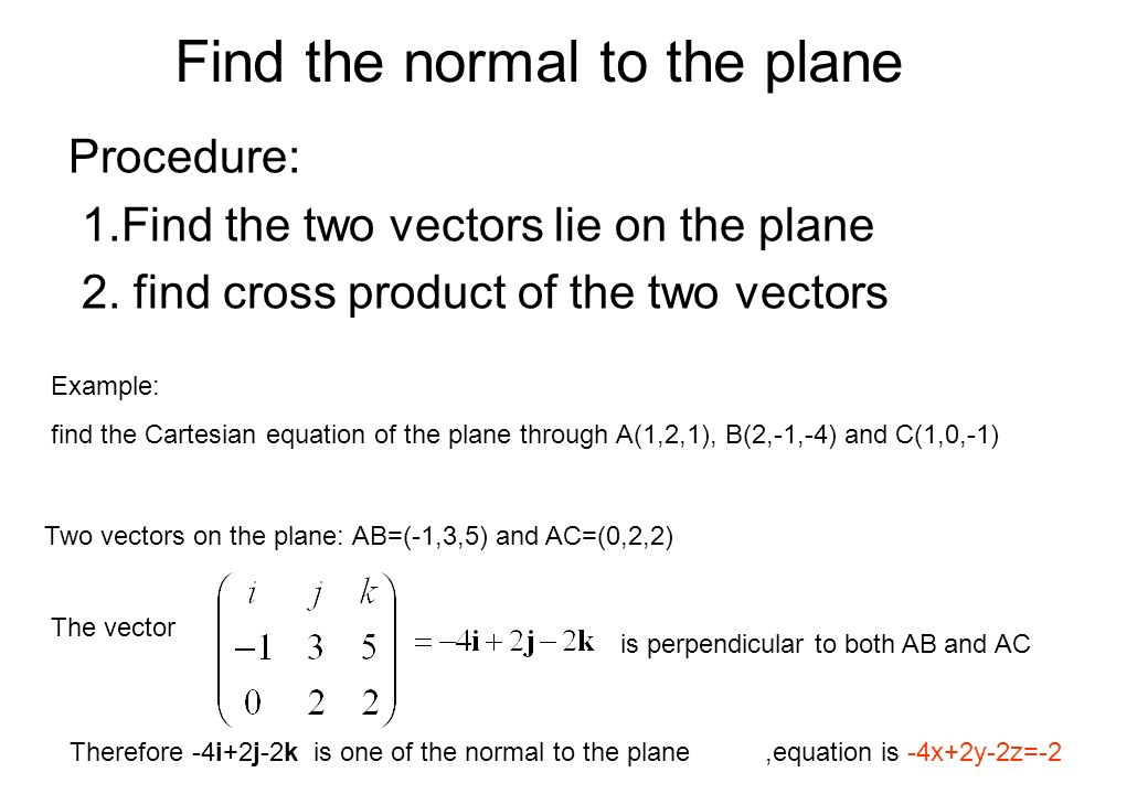 Find the normal to the plane Procedure: 1.Find the two vectors lie on the plane 2. find cross product of the two vectors Example: find the Cartesian e