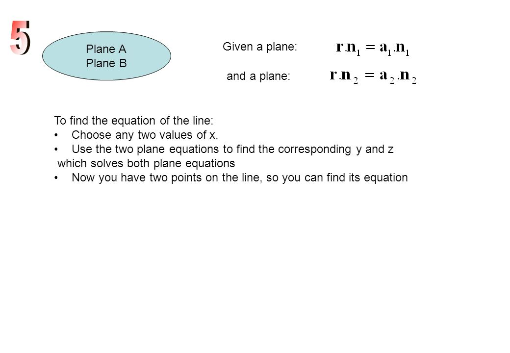 Plane A Plane B Given a plane: and a plane: To find the equation of the line: Choose any two values of x. Use the two plane equations to find the corr