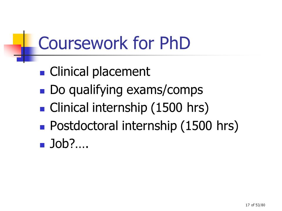 17 of 53/80 Coursework for PhD Clinical placement Do qualifying exams/comps Clinical internship (1500 hrs) Postdoctoral internship (1500 hrs) Job?….