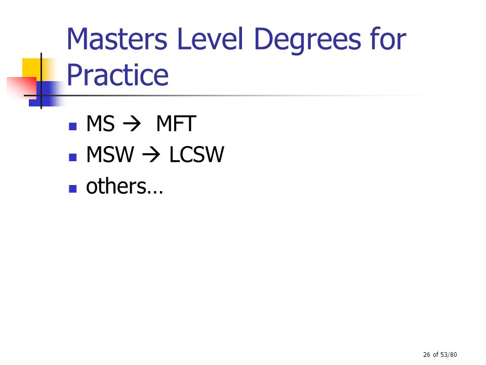 26 of 53/80 Masters Level Degrees for Practice MS MFT MSW LCSW others…