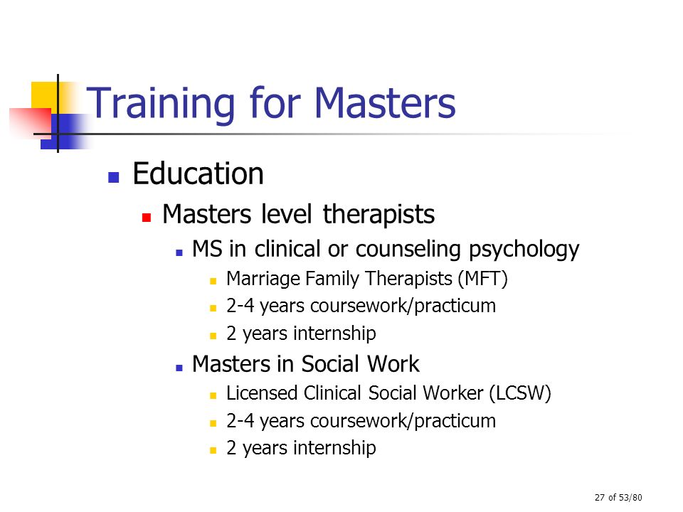 27 of 53/80 Training for Masters Education Masters level therapists MS in clinical or counseling psychology Marriage Family Therapists (MFT) 2-4 years