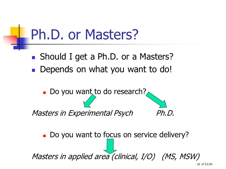 36 of 53/80 Ph.D. or Masters? Should I get a Ph.D. or a Masters? Depends on what you want to do! Do you want to do research? Masters in Experimental P