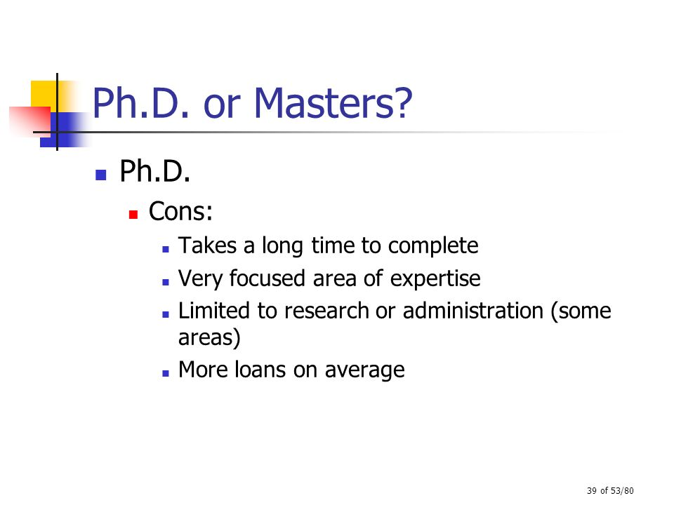 39 of 53/80 Ph.D. or Masters? Ph.D. Cons: Takes a long time to complete Very focused area of expertise Limited to research or administration (some are