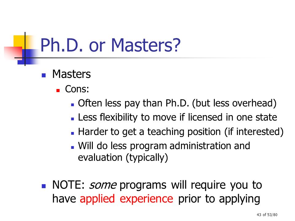 43 of 53/80 Ph.D. or Masters? Masters Cons: Often less pay than Ph.D. (but less overhead) Less flexibility to move if licensed in one state Harder to