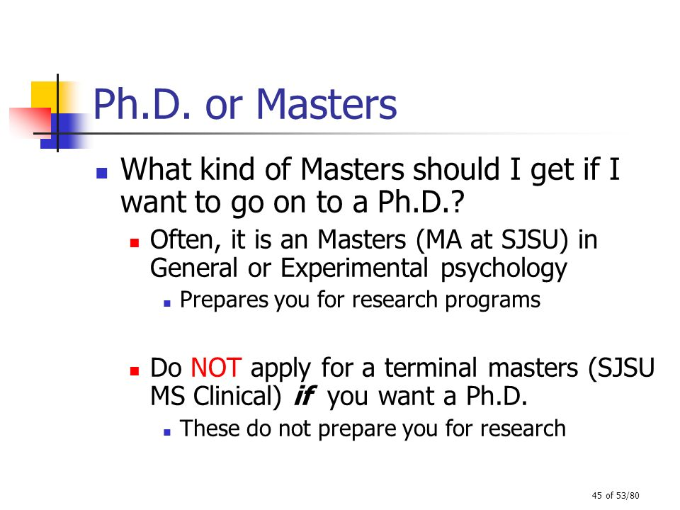 45 of 53/80 Ph.D. or Masters What kind of Masters should I get if I want to go on to a Ph.D.? Often, it is an Masters (MA at SJSU) in General or Exper