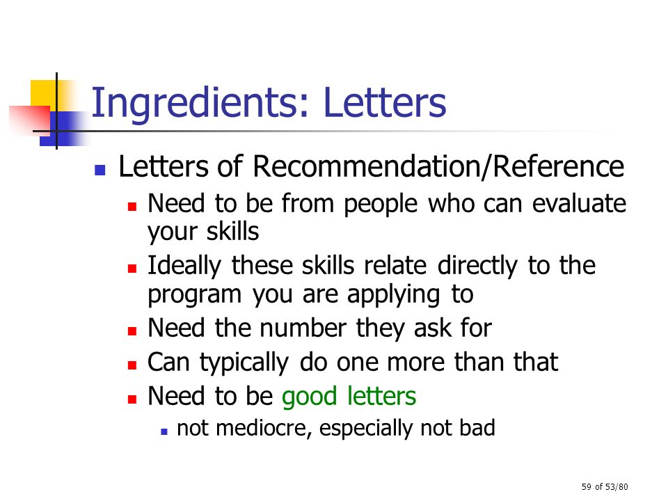 59 of 53/80 Ingredients: Letters Letters of Recommendation/Reference Need to be from people who can evaluate your skills Ideally these skills relate d