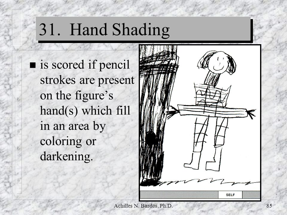 Achilles N. Bardos, Ph.D.84 30. Crotch Shading n is scored if pencil strokes are present on the figures crotch area (below the waistline or belt and a