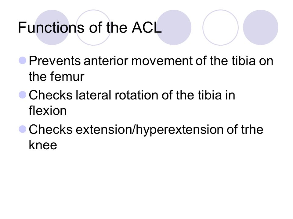 Functions of the ACL Prevents anterior movement of the tibia on the femur Checks lateral rotation of the tibia in flexion Checks extension/hyperextens