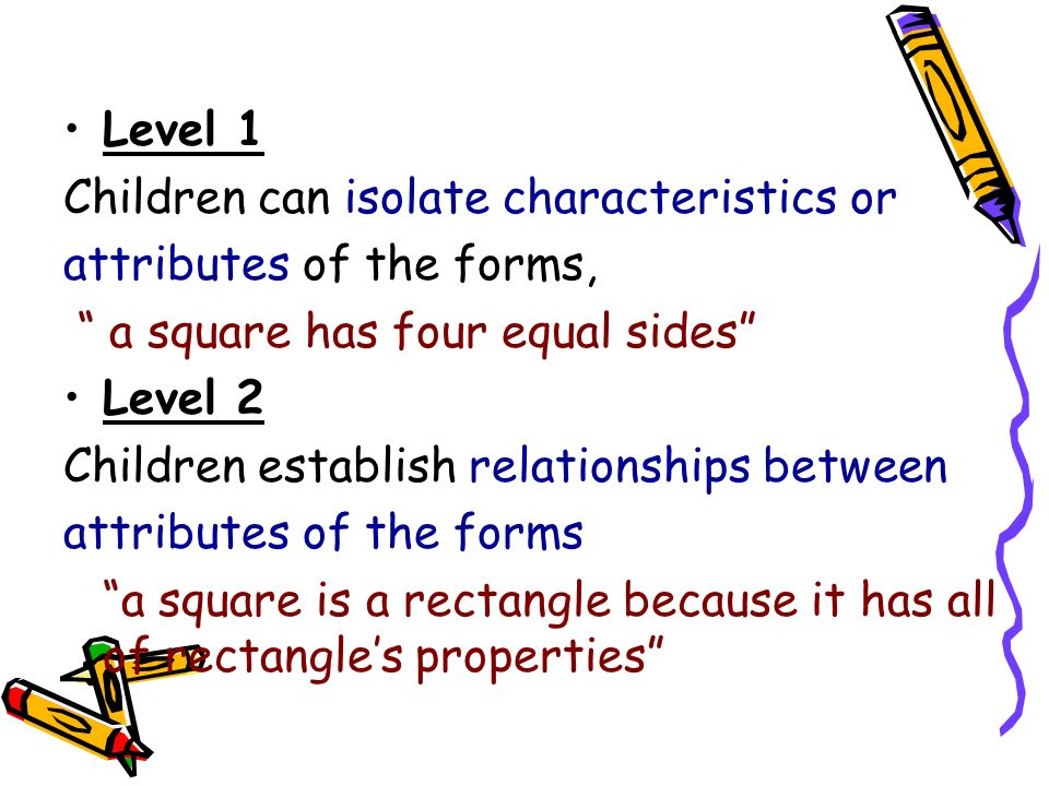 Level 1 Children can isolate characteristics or attributes of the forms, a square has four equal sides Level 2 Children establish relationships betwee