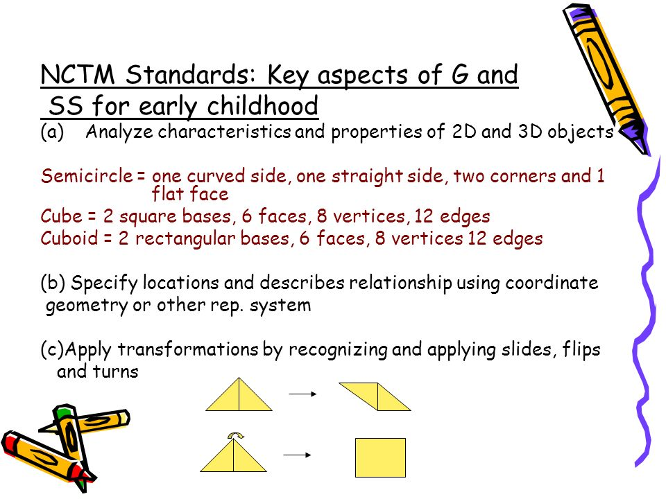 NCTM Standards: Key aspects of G and SS for early childhood (a)Analyze characteristics and properties of 2D and 3D objects Semicircle = one curved sid
