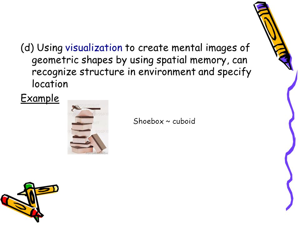 (d) Using visualization to create mental images of geometric shapes by using spatial memory, can recognize structure in environment and specify locati