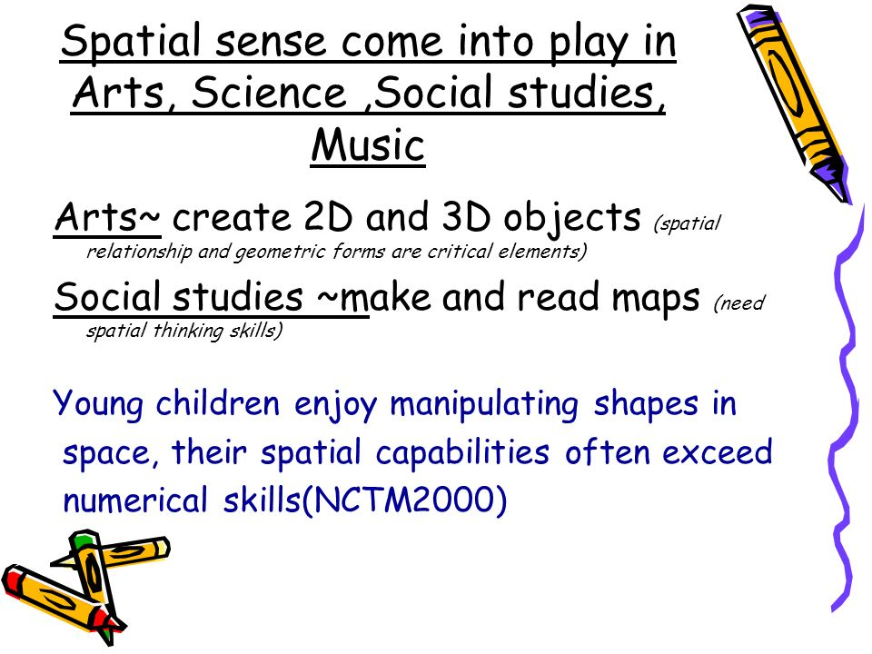 Spatial sense come into play in Arts, Science,Social studies, Music Arts~ create 2D and 3D objects (spatial relationship and geometric forms are criti