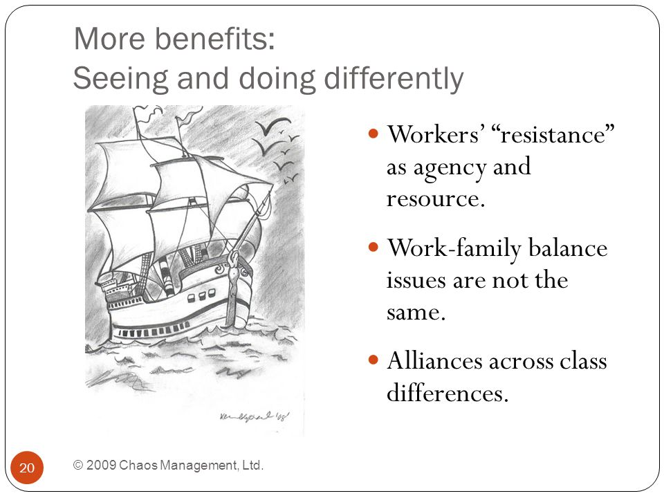 More benefits: Seeing and doing differently © 2009 Chaos Management, Ltd.