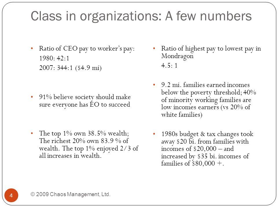 Class in organizations: A few numbers © 2009 Chaos Management, Ltd.