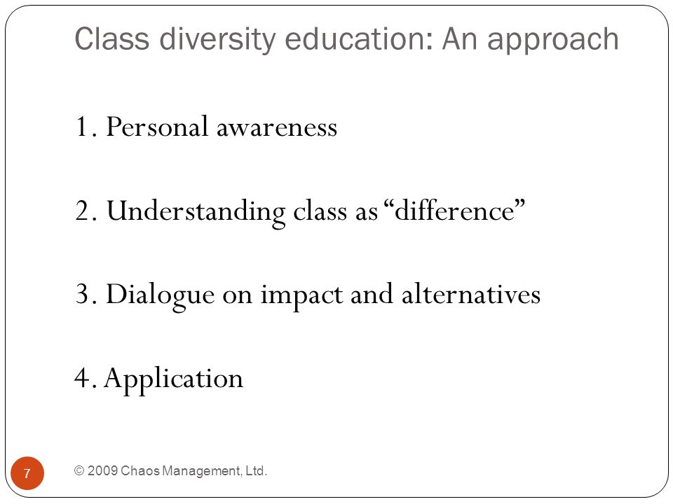 Class diversity education: An approach © 2009 Chaos Management, Ltd.