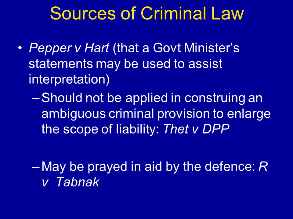 Interpretation No defence of de minimis in criminal law: Scott (2008) Partnership - possible for partnership to be criminally liable in its own right separately from individuals