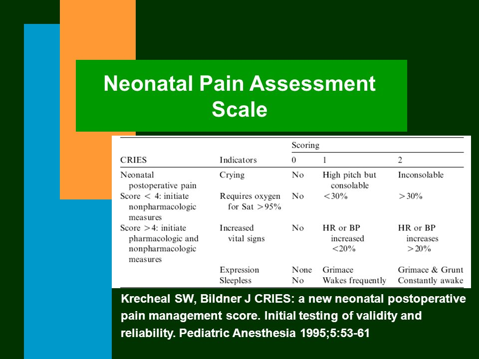 Neonatal Pain Assessment Scale Krecheal SW, Bildner J CRIES: a new neonatal postoperative pain management score. Initial testing of validity and relia