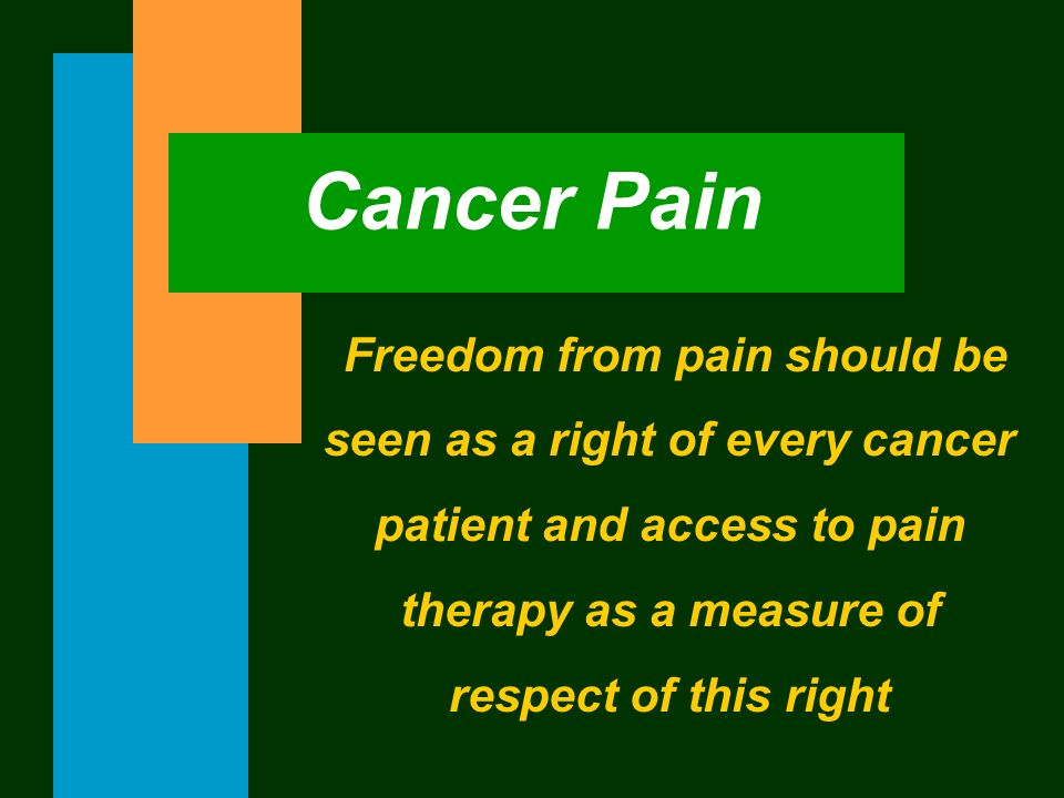 Freedom from pain should be seen as a right of every cancer patient and access to pain therapy as a measure of respect of this right Cancer Pain