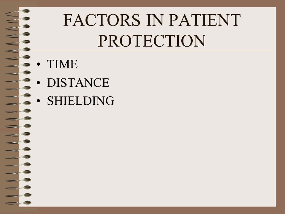 FACTORS IN PATIENT PROTECTION TIME DISTANCE SHIELDING
