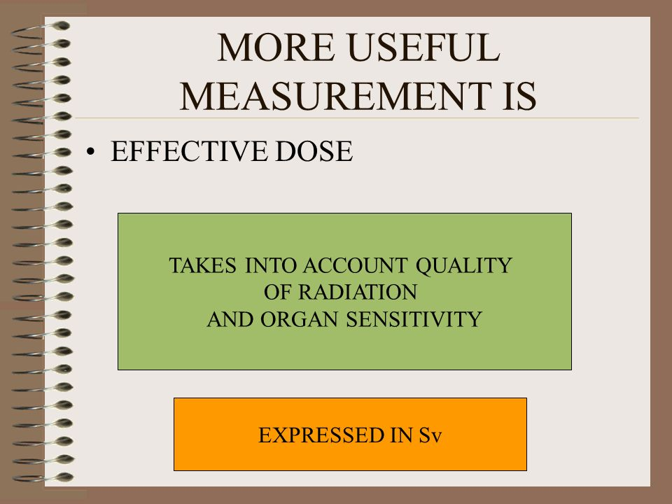 MORE USEFUL MEASUREMENT IS EFFECTIVE DOSE TAKES INTO ACCOUNT QUALITY OF RADIATION AND ORGAN SENSITIVITY EXPRESSED IN Sv