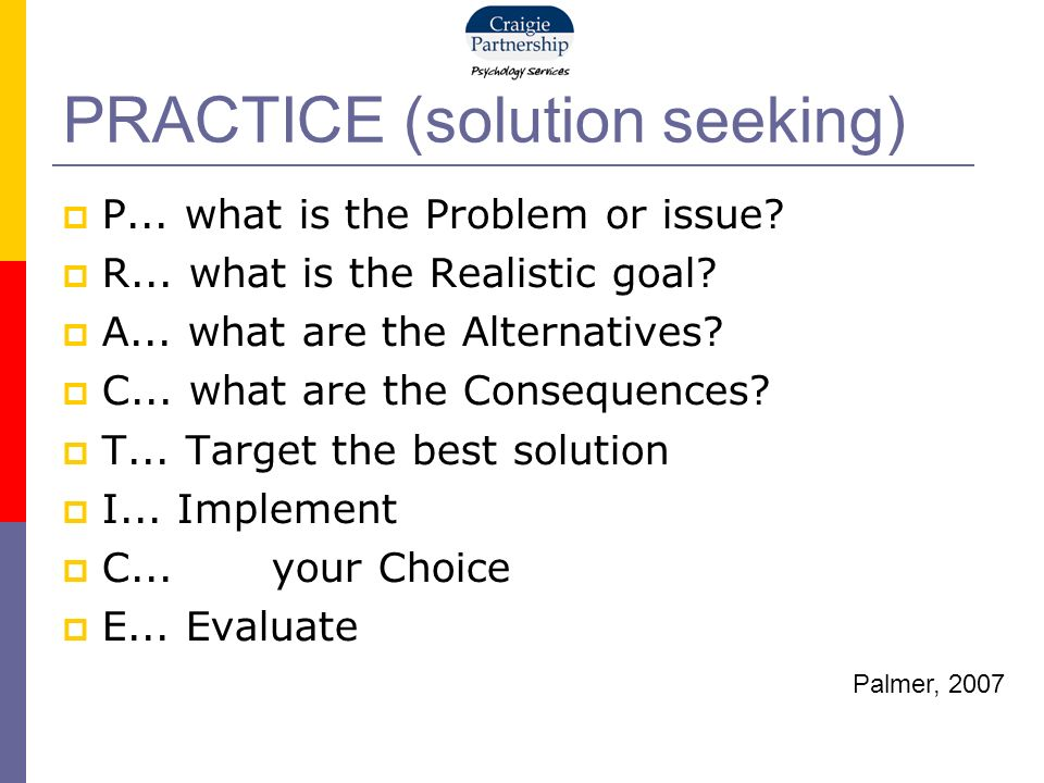PRACTICE (solution seeking) P... what is the Problem or issue.