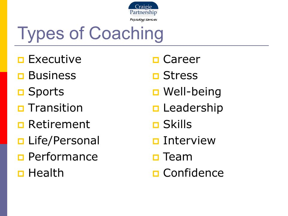 Executive Business Sports Transition Retirement Life/Personal Performance Health Types of Coaching Career Stress Well-being Leadership Skills Interview Team Confidence