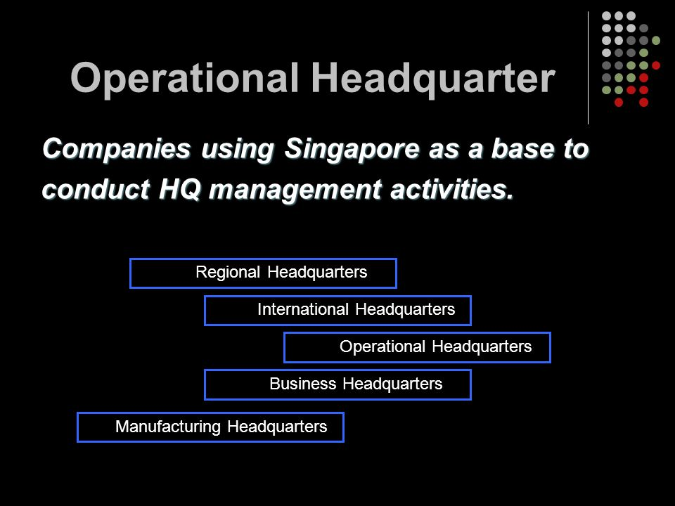 Operational Headquarter Companies using Singapore as a base to conduct HQ management activities. Regional Headquarters International Headquarters Oper