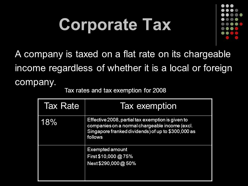 Corporate Tax A company is taxed on a flat rate on its chargeable income regardless of whether it is a local or foreign company. Tax RateTax exemption
