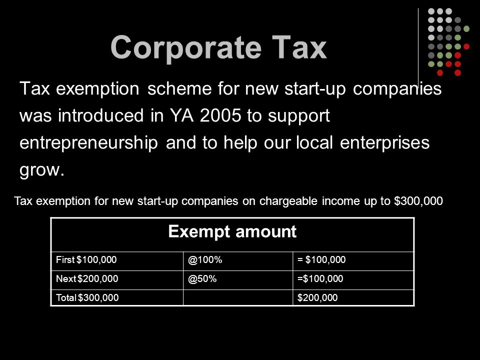 Corporate Tax Tax exemption scheme for new start-up companies was introduced in YA 2005 to support entrepreneurship and to help our local enterprises