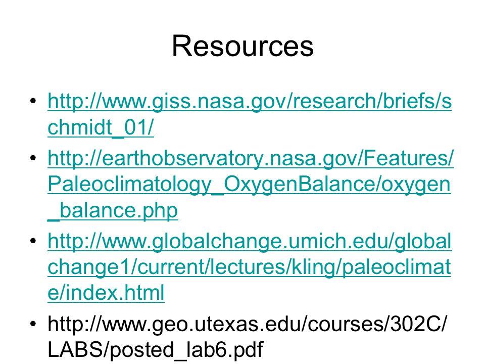 Resources http://www.giss.nasa.gov/research/briefs/s chmidt_01/http://www.giss.nasa.gov/research/briefs/s chmidt_01/ http://earthobservatory.nasa.gov/Features/ Paleoclimatology_OxygenBalance/oxygen _balance.phphttp://earthobservatory.nasa.gov/Features/ Paleoclimatology_OxygenBalance/oxygen _balance.php http://www.globalchange.umich.edu/global change1/current/lectures/kling/paleoclimat e/index.htmlhttp://www.globalchange.umich.edu/global change1/current/lectures/kling/paleoclimat e/index.html http://www.geo.utexas.edu/courses/302C/ LABS/posted_lab6.pdf