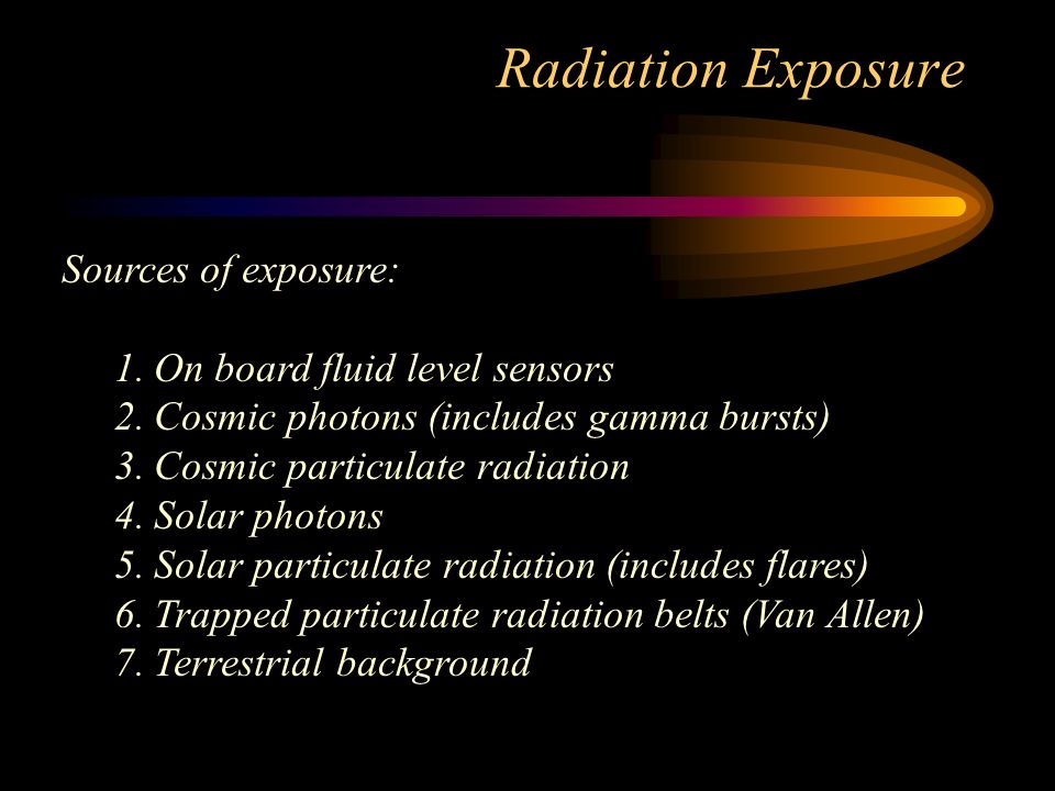 Radiation Exposure Sources of exposure: 1.On board fluid level sensors 2.Cosmic photons (includes gamma bursts) 3.Cosmic particulate radiation 4.Solar photons 5.Solar particulate radiation (includes flares) 6.Trapped particulate radiation belts (Van Allen) 7.Terrestrial background