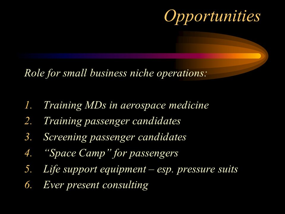 Opportunities Role for small business niche operations: 1.Training MDs in aerospace medicine 2.Training passenger candidates 3.Screening passenger candidates 4.Space Camp for passengers 5.Life support equipment – esp.
