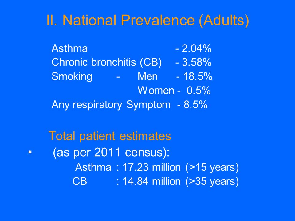 II. National Prevalence (Adults) Asthma- 2.04% Chronic bronchitis (CB)- 3.58% Smoking- Men - 18.5% Women - 0.5% Any respiratory Symptom - 8.5% Total p