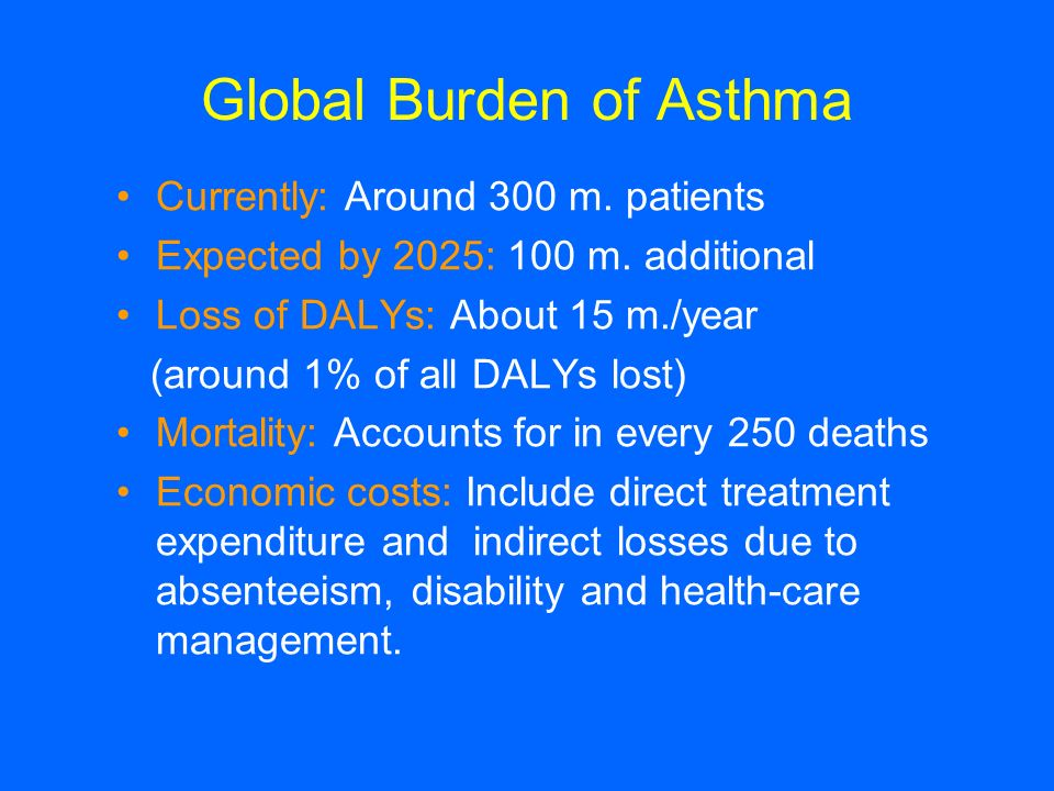 Global Burden of Asthma Currently: Around 300 m. patients Expected by 2025: 100 m. additional Loss of DALYs: About 15 m./year (around 1% of all DALYs
