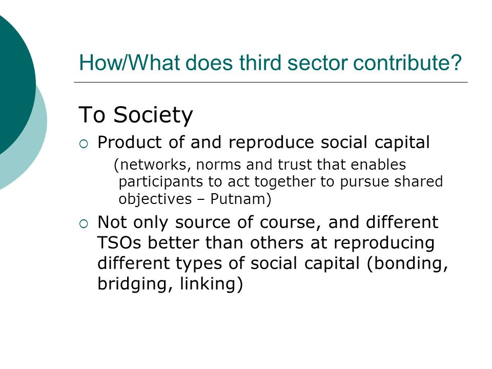 How/What does third sector contribute.