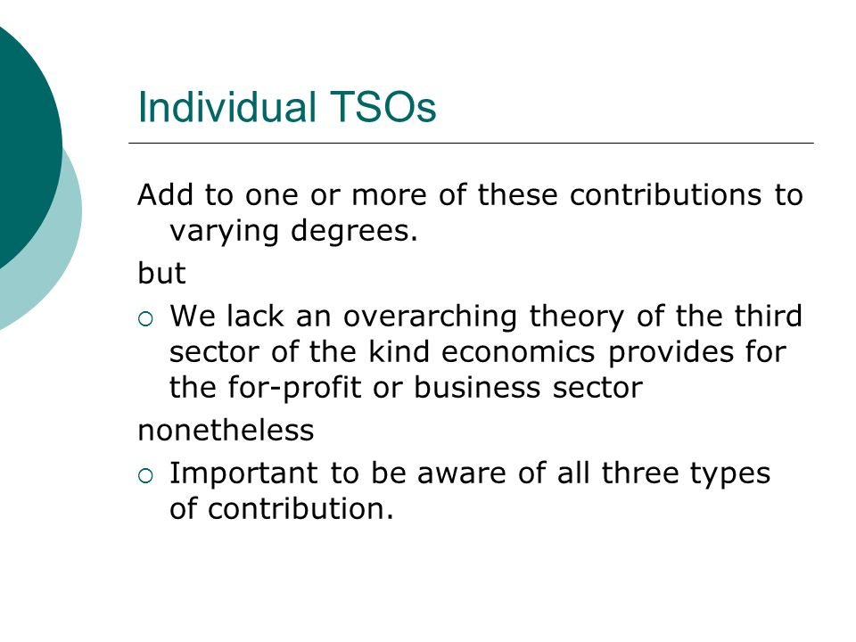 Individual TSOs Add to one or more of these contributions to varying degrees.