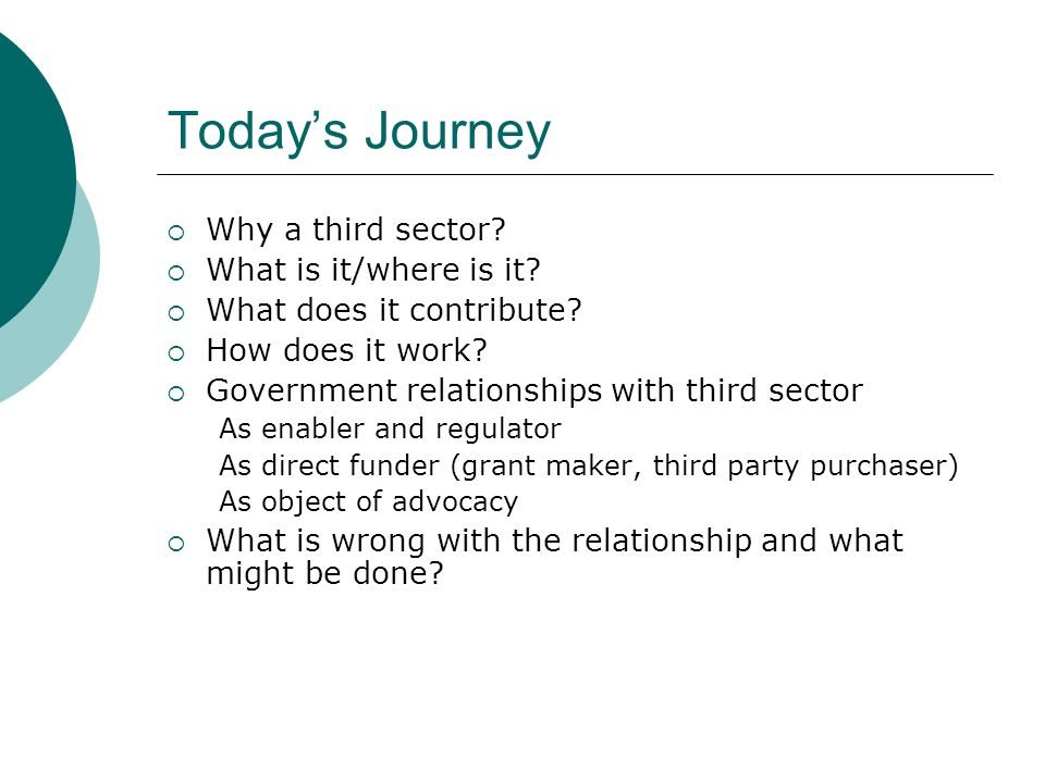 Todays Journey Why a third sector. What is it/where is it.