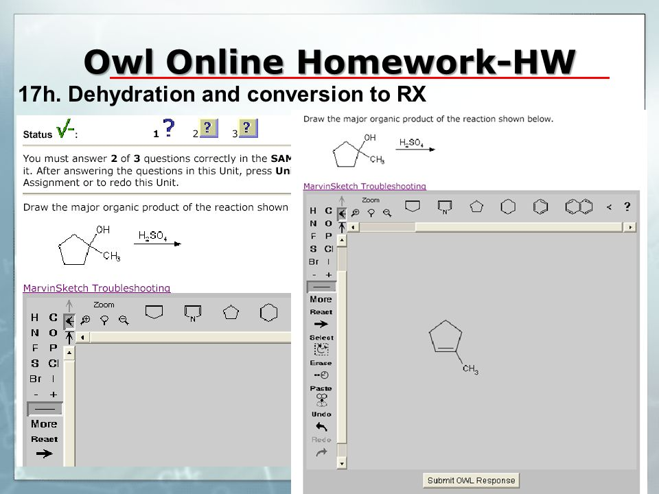 Owl Online Homework-HW 17h. Dehydration and conversion to RX