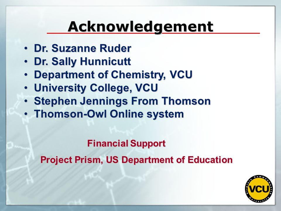 Acknowledgement Dr. Suzanne Ruder Dr. Suzanne Ruder Dr. Sally Hunnicutt Dr. Sally Hunnicutt Department of Chemistry, VCU Department of Chemistry, VCU