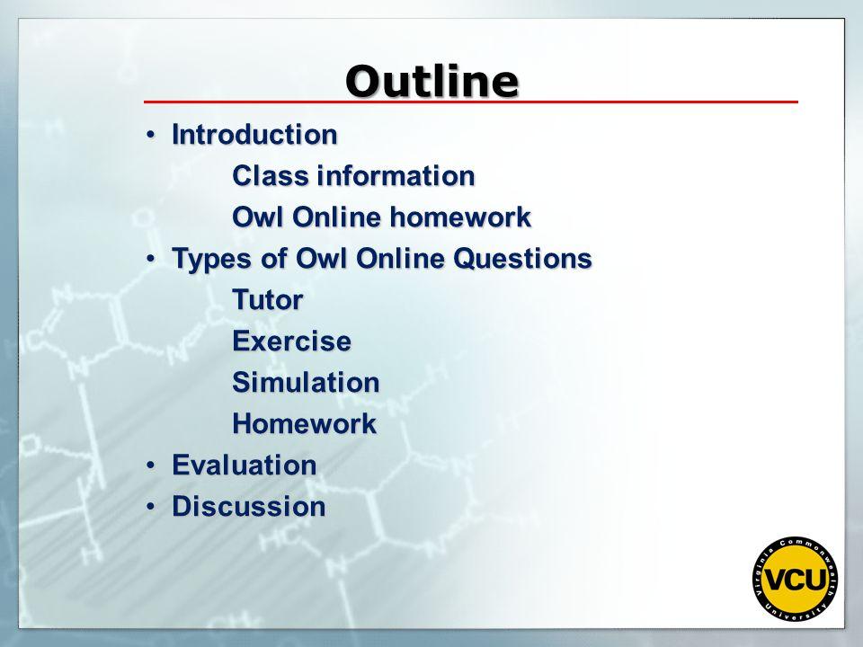 Owl chemistry homework answers