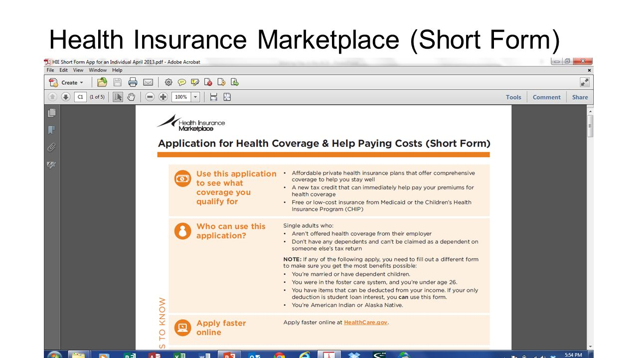 Health Insurance Marketplace (Short Form)