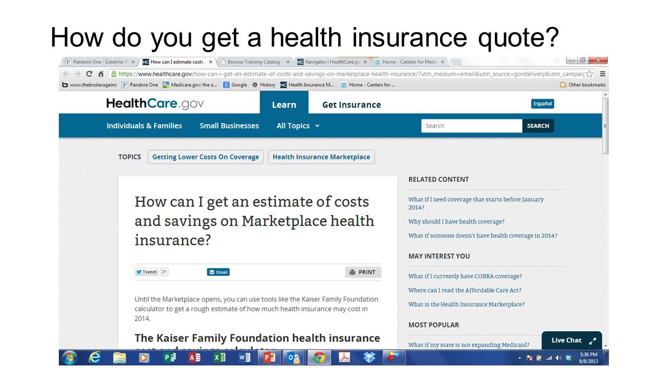 How do you get a health insurance quote